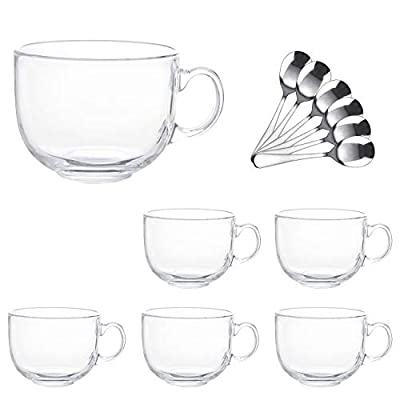 16oz Glass Jumbo Mugs With Handle For Coffee, Tea, Soup,Clear Drinking Cup With Spoon,Set of 6