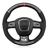 MDHANBK Volante del Coche de la Cubierta de Bricolaje Cosido a Mano de Fibra de Carbono Negro Ante, para Audi A3 8P Sportback A4 Avant B8 A5 A6 A8 Q5 Q7 Accesorios del Coche