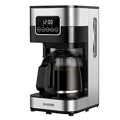 SHARDOR DripCoffeeMaker,Touch-Screen Programmable CoffeeMachine, AutomaticStartandShut Off,BrewStrengthControl, WarmingPlate, 50.72oz(1.5L)