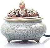 Cfbcc El Tiempo Temperatura Control Electrónico de aromaterapia de cerámica Horno - Horno de Madera de agar Esenciales de aromaterapia Aceite de la lámpara electrónica (Color : White)
