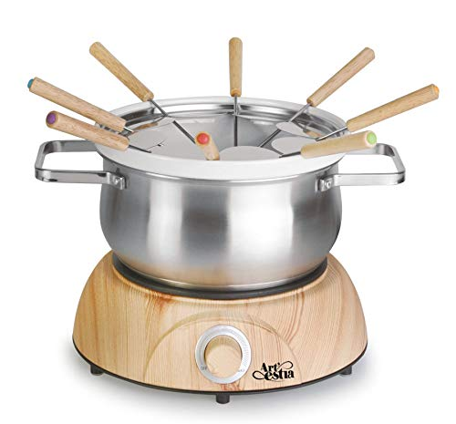 Artestia Electric Chocolate & Cheese Fondue Set with Two Pots (Stainless Steel and Ceramic), Serve 8 persons (Stainless Steel/Ceramic Pots, Wood Pattern Base)