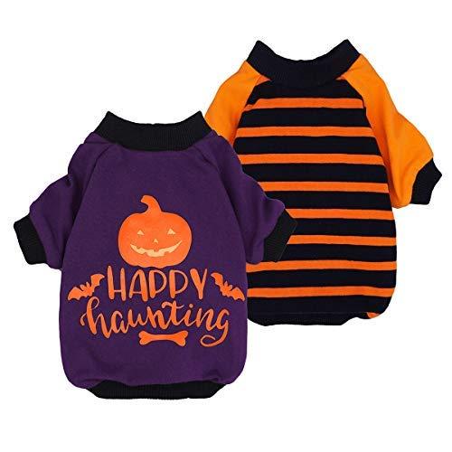 Pack de 2 camisetas para perro de Halloween para ropa de mascota, 100% algodón, camisetas para cachorro, camisetas de gato, transpirables y elásticas.