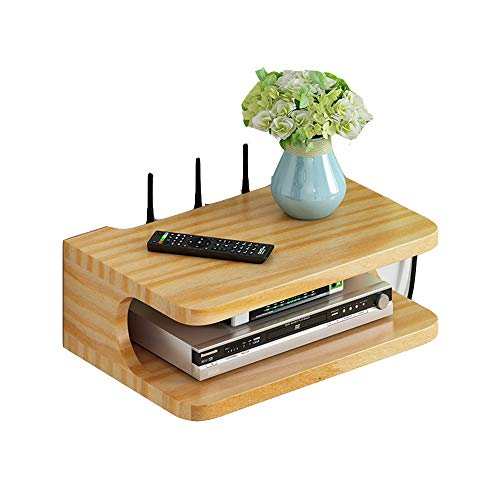 FENDOUBA Estante de La Pared, Soporte de Pared Soporte TV Box Set-Top Box Módem Decodificador de Cable Reproductor de DVD para Dispositivo de Transmisión de WiFi Router Player (Color : Wood Color)