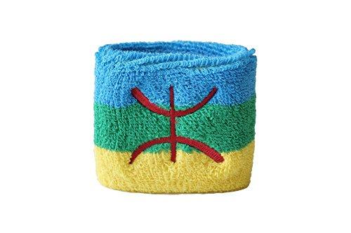 Flaggenfritze Schweißband Motiv Fahne/Flagge Berber Amazigh, 2er Set + gratis Aufkleber