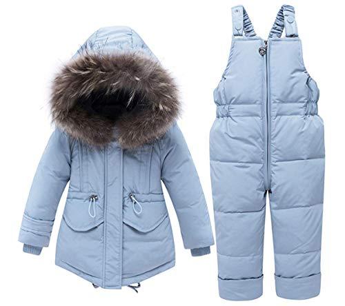 BEIAKE Baby Verdickte Down Jacket Schneeanzug Mit Kapuze Kleidung Set Winterjacke + Hosen Kleinkind Daunenhosen Unisex Kids Skianzug Mädchen Jungen,Blau,90cm
