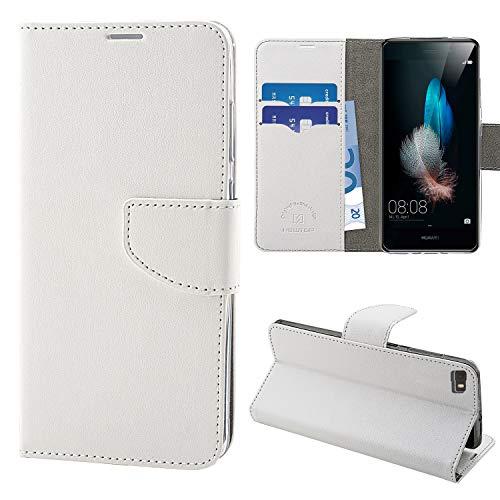 NewTop Cover Compatibile per Huawei P8 Lite/2017/Smart, HQ Lateral Custodia Libro Flip Magnetica Portafoglio Simil Pelle Stand (per P8 Lite, Bianco)