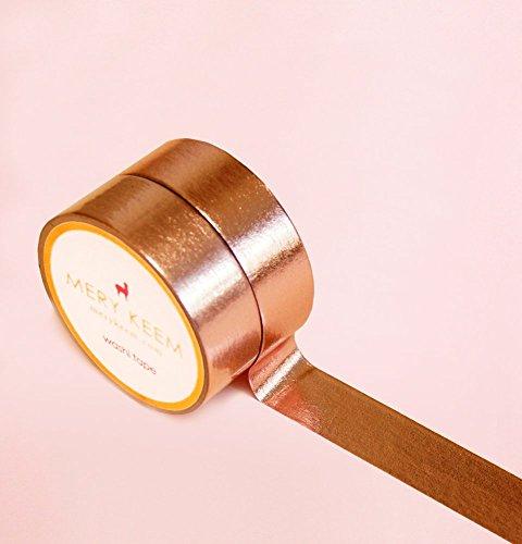 Rose Gold Foil Washi Tape para Diarios y Planificadores • Scrapbooking • Artesanias • Oficina • Artículos de Fiesta • Envoltorios de Regalo • Ideal para Manualidades • Cinta Adhesivas Decorativa