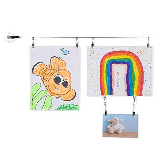 BHG YouHaveSpace TOTART Picture Hanging Kit and Curtain Rod with 18 Clips for Kids Crafts, Artwork, Tapestry, Stainless Steel, Chrome