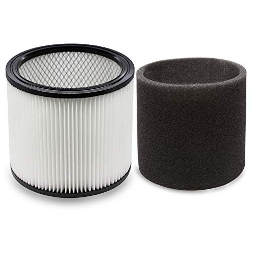 YUEFENG Filter for Shop-Vac 90350 90304 90333 Replacement fits most Wet/Dry Vacuum Cleaners 5 Gallon and above, Compare to Part 90304, 90585 (1 filter + 1 foam filter)