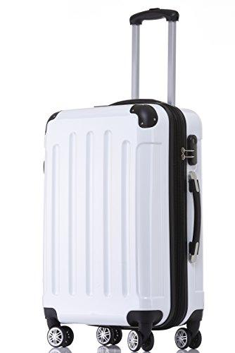 BEIBYE Zwillingsrollen 2048 Hartschale Trolley Koffer Reisekoffer in M-L-XL-Set in 17 Farben (Weiß, M)