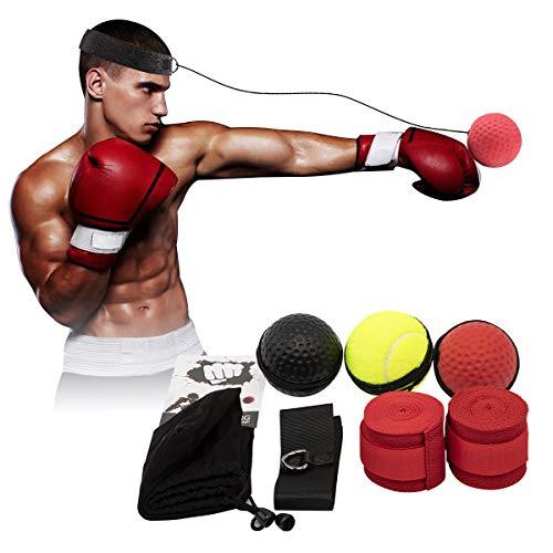 ENUOSUMA verbesserter Box-Reflex-Ball, Box-Trainingsball, MMA-Speed-Training, geeignet für Erwachsene/Kinder, Beste Boxausrüstung für Training, Hand-Augen-Koordination und Fitness.