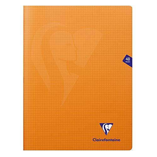 Clairefontaine 383312C Mimesys Notizheft, 24 x 32 cm, 48 Seiten, kleine Karos, Umschlag aus Polypropylen, Orange