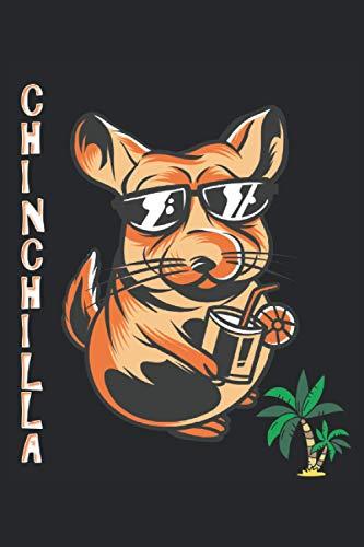 CHINCHILLA: Ama a los animales Mimoso con palmeras y cóctel I Cuaderno: Papel rayado con 120 páginas en formato 15 x 22, 86 cm