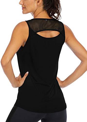 ICTIVE Women's Workout Tops Women Yoga Tops for Women Sleeveless Summer Clothing Cami Tank Tops for Women Razorback Tank Tops for Women Loose Workout Tops for Women Muscle Top Black M