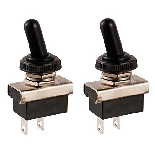 BOJACK KN3 (D) -101 Interruttore a levetta SPST ON-Off 2 Pin terminale 12 VDC 25 A con cappuccio impermeabile (confezione da 2 pezzi)