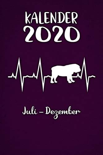 Kalender 2020: Lilaner Tageskalender Englische Bulldogge Herzschlag Hunde 2. Halbjahr Juli Dezember ca DIN A5 weiß über 190 Seiten