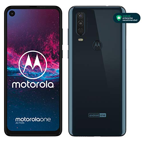 "Motorola One Action, Display CinemaVision 6.3"" FHD+, 128 GB Espandibili, Tripla fotocamera con Action Cam dedicata (12MP+16MP+5MP), Dual Sim, Android 9 Pie - Blue Denim"