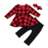 mioliknya toddler baby girl plaid shirt dress top leggings pants headband sets christmas outfit