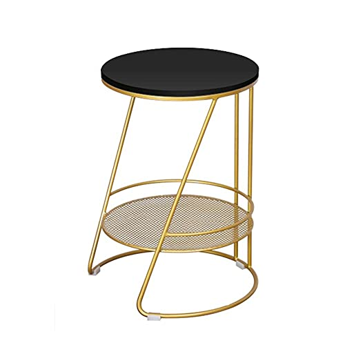 Mesa auxiliar simple y elegante para el hogar, pequeña mesa de café con marco de metal MDF escritorio adecuado para cafetería/oficina/sala de estar (35 x 40 x 52 cm) (color blanco)