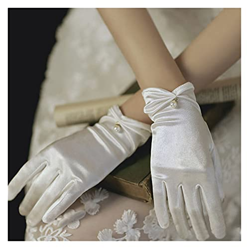 YUMYANJIN Bridal Gloves Summer Satin Gloves Thin Short Etiquette Dress Gloves Lady Elegant Pearl Lace Bow Mittens Women Party Photography Accessory Decorate (Color : White)
