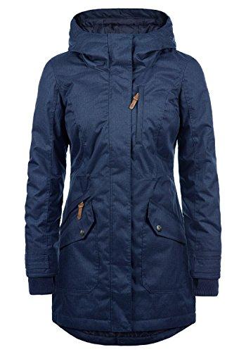 DESIRES Bella Damen Übergangsparka Parka Übergangsjacke Lange Jacke mit Kapuze, Größe:S, Farbe:Insignia Blue (1991)