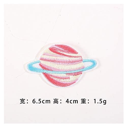 JIWEIER Star Universe Planet astronautas Venta Directa de fábrica de Bordado Equipo estándar escaldado Etiquetas pegadas Bordado de Tela Stock Hierro en remiendos (Size : 5)