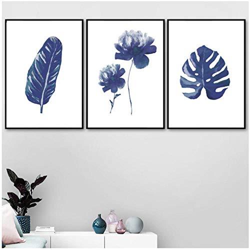WENJING aquarelblauw tropisch grote bladeren Scandinavische plant affiches en prints muurkunst canvas schilderij kinderen muurschilderijen voor de woonkamer 40 x 60 cm x 3 stuks geen lijst