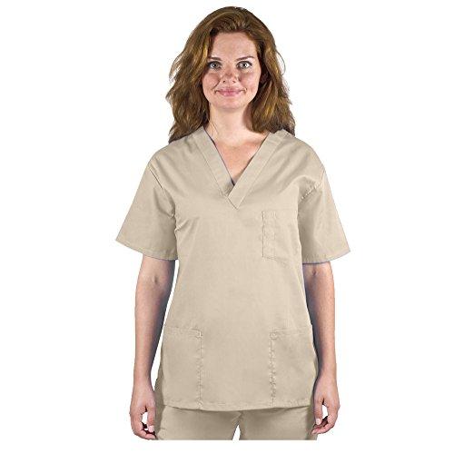 98.6 Nurse Scrubs for Men & Women: Unisex Medical Nursing Tops Uniform V-Neck Top XS Khaki