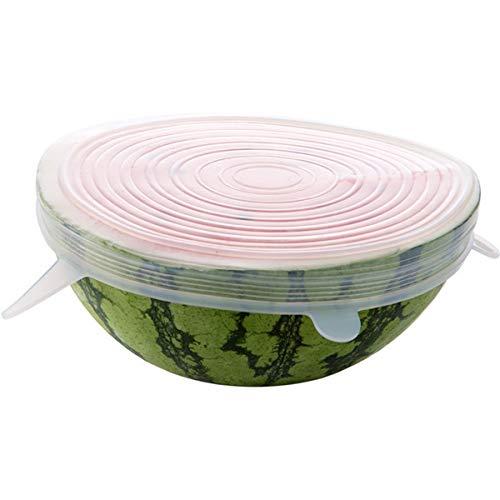 6 juegos de fundas de silicona para mantener la frescura de la cocina, tapa redonda, sellada, reutilizable