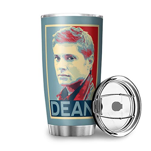 TokenToken Stainless Steel Car Cup Supernatural Winchester Brother Sam Dean Design Vacuum Insulated Tumbler w/Lid Fun to Go Mug for Husband Wife White 20oz