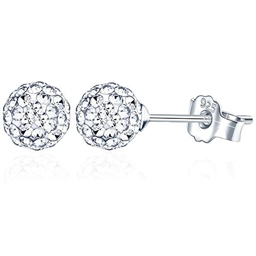 BUKEQILA Pendientes de plata de ley 925 con bolas de cristal austriaco de 8 mm, para mujer o niña, con bolsa de regalo,perfectos para hacer Regalos Originales