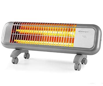 Orbegozo BPM 0105 - Estufa de cuarzo, 2 niveles de potencia, 2 barras de cuarzo, sistema antivuelco, ruedas de transporte, 1200 W