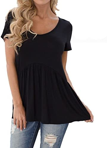 Inital Women s Short Sleeve Fit and Flar Tunics Loose Casual Babydoll Blouse Black product image