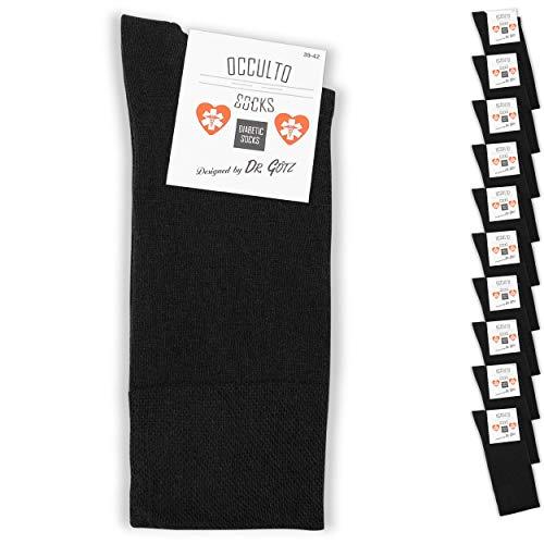 Occulto 10 bis 20 Paar Diabetikersocken für Herren & Damen, Socken ohne Gummi ohne Naht für Herren, Herrensocken Damensocken ohne Gummib& 43-46 Schwarz