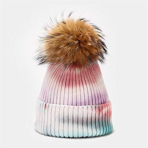 ETXP Hübscher Hut Wolle echte Plüschkugel Hut Art und Weise strickte Bogen Mädchen Farbstofffarbe Kappe Damen Pompom Kappe Wintermütze for Damen Geeignet für den...
