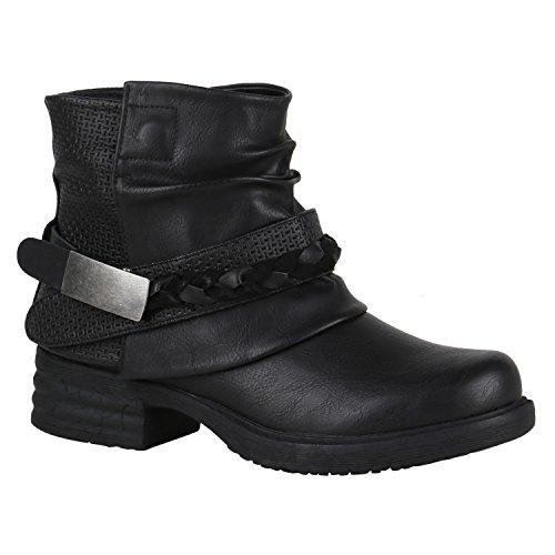 Damen Stiefeletten Biker Boots Nieten Schnallen Leder-Optik Schuhe 148775 Schwarz Flechte 37 Flandell