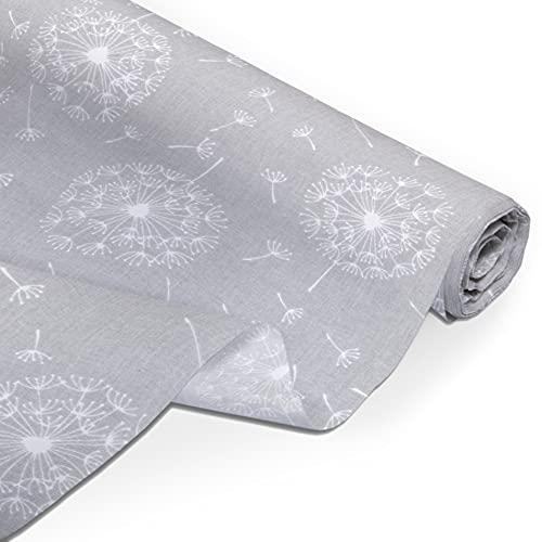 Amilian Tela de algodón por metro, telas, restos de tela, paquete de tela: aprox. 160 cm x 200 cm, para costura, patchwork, 100% algodón, para manualidades, tela de costura, diente de león, gris