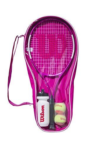 Wilson Conjunto de iniciación al tenis, Ultra Pink Starter Set, Raqueta Ultra Pink 25, Botella, 2 pelotas, Bolsa de transporte, De 9 a 10 años, WR026710F