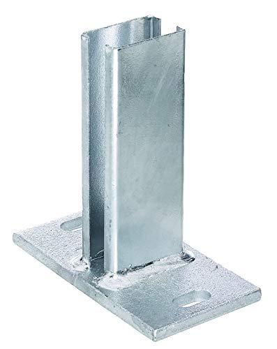 GAH-Alberts 685676 Pfostenträger für Zaunpfosten für Doppelstabmatten | zum Aufschrauben | feuerverzinkt | Platte 150 x 80mm | für Pfosten 60 x 40 mm