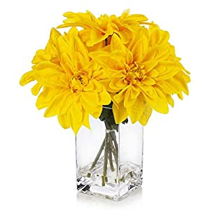Yellow Silk Dahlia Flower in Clear Glass Vase with Faux Water-Floral Center Piece-Nursery Wall Decor-Dinner Table centerpieces-Kitchen Table centerpieces-Round Coffee Table Centerpiece