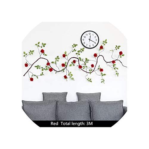 3M Kunstmatige Zijde Rozen Bloemen Wijnstok met Nep Bladeren Schuim Boom Tak Rotan voor Thuis Bruiloft Decoratie Tuinfeest Decor, Roze Rood
