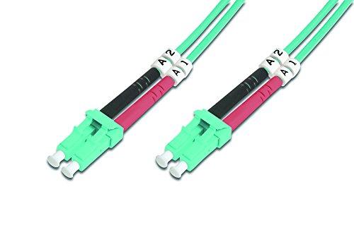 DIGITUS LWL Patch-Kabel OM3 - 10 m LC auf LC Glasfaser-Kabel - LSZH - Duplex Multimode 50/125µ - 10 GBit/s - Türkis