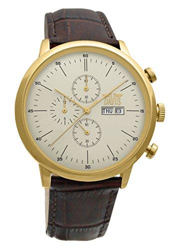 Davis-1954-Orologio Uomo Oro Giallo Retrò Classico-Cronografo Stagno...