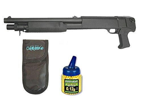 Outletdelocio. Pack Rifle Airsoft Franchi SAS 12 Corta, 3 tiros simultaneos. Calibre 6mm. + Funda Portabalines + Biberon 1000 Bolas. 23054/21993