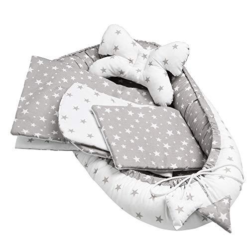Solvera_Ltd Juego de 5 piezas para bebé, incluye nido de 90 x 50 cm, cojín plano extraíble, manta para gatear, cojín para bebé, 100% algodón (estrellas grises)