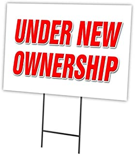 """Under New Ownership 12""""x16"""" Yard Sign & Stake Outdoor Plastic Window"""