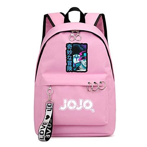 ZZGOO-LL JoJo's Bizarre Adventure Anime Laptop Backpack Bag Travel Mochilas Daypacks Bolso Ligero Pink
