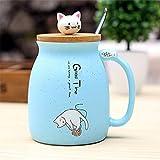 CNBB Farbkarikatur-Milch-Kaffee-Keramik-Becher Mit Deckel-Löffel-Schale Nette Katze-HitzebeständigeSchalen-Kätzchen-Kinderschalen-Büro-Geschenke
