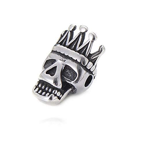 YCSC Pipitree DIY Beads de Acero Inoxidable Black Vintage Buda Garra Leopardo Cráneo Cráneo Charms para Hombres Pulsera Joyería (Color : Skull 06)