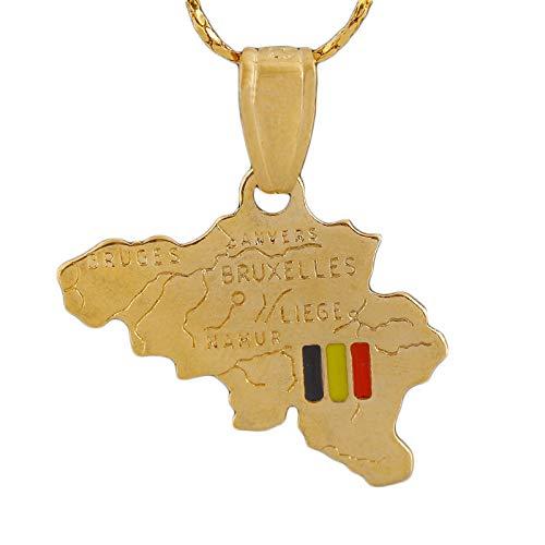 YQMR Collar Colgante Mapa Mujer,Mapa De Europa Colgante Collar Vintage Dorado Bélgica País Colgante Joyería Clásica Dama Regalo Retro para Parejas Cumpleaños Boda